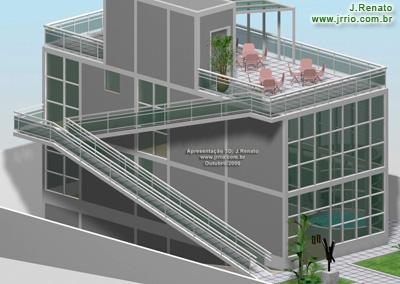 terraco jardim detalhe:Vista ampliada da rampa, terraço, fachada esquerda e frontal da