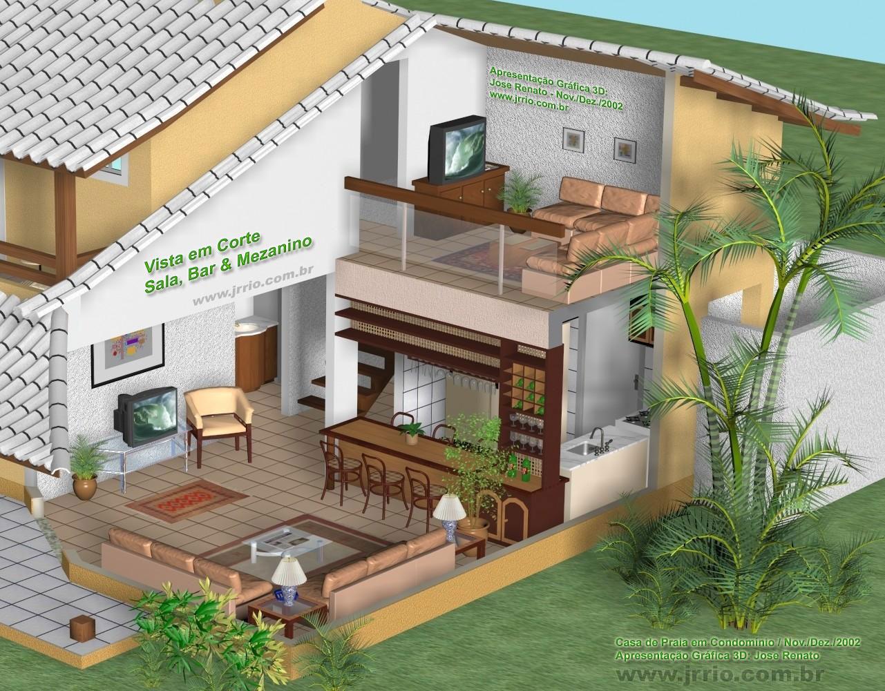 Corte 3d de arquitetura onde aparece ampliada a sala mezanino e bar #288DA3 1281 1001