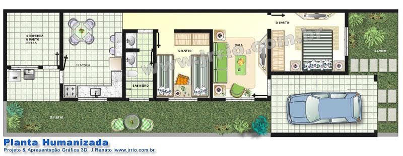 Casa 2 Quartos Em Terreno Estreito Planta E Interiores