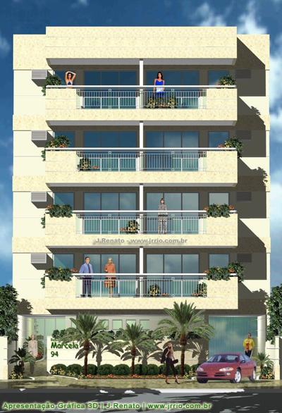 Perspectiva fotoreal stica de fachada pr dio de 4 andares for Fachadas para apartamentos pequenos