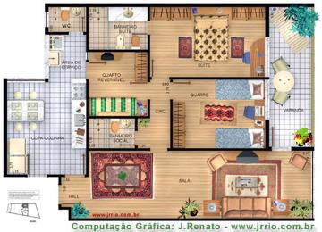 Apartamentos mobiliados em planta 3d e maquete eletr nica for Site plan rendering software