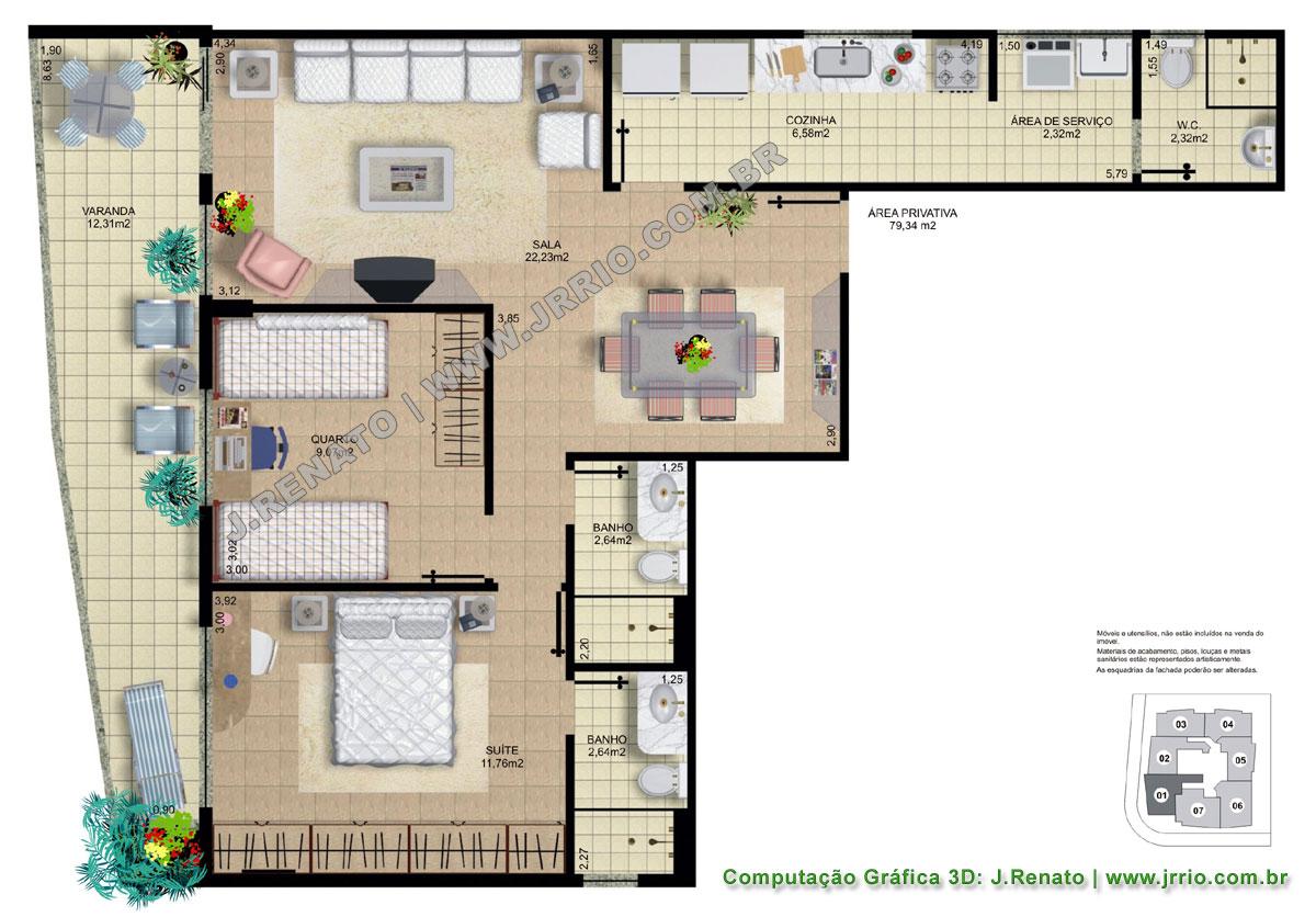 #368379 Plantas Fotorealísticas de Apartamentos Mobiliados 1200x836 píxeis em Blocos De Sala De Estar Autocad