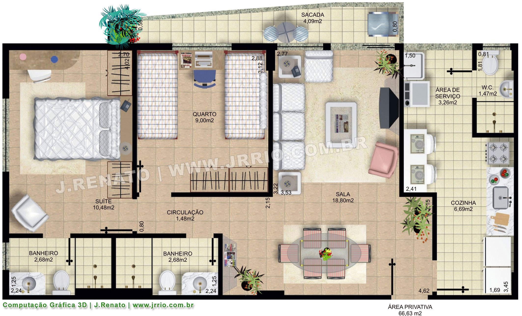 Plantas Fotorealísticas de Apartamentos Mobiliados #3D737A 2126 1287