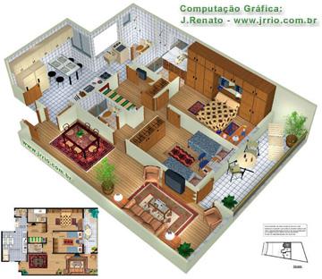 Apartamentos mobiliados em planta 3d e maquete eletr nica for Simulador interiores 3d