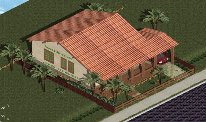 Suficiente Planta e Telhado | Casa 2 Quartos Estilo Colonial OK73