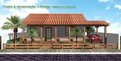 Casa com varanda em clima tropical , Maquete eletrônica