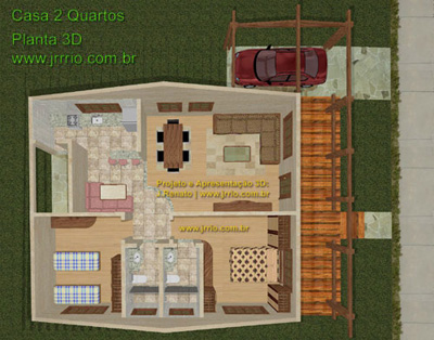 Planta 3D da casa - Vista do Interior